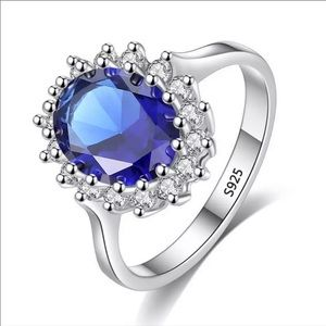 New 925 Sterling Silver Blue Sapphire Ring